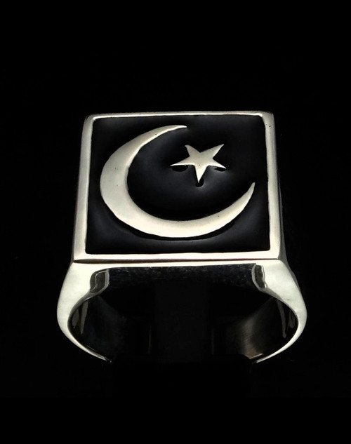 Sterling silver men's ring Crescent Moon and Star Islam Muslim Flag symbol with Black enamel high polished 925 silver