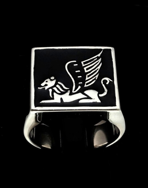 Sterling silver ancient symbol ring Winged Lion mythological creature with Black enamel high polished 925 silver