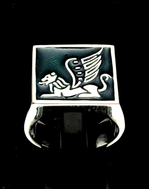 Sterling silver ancient symbol ring Winged Lion mythological creature on Green enamel high polished 925 silver