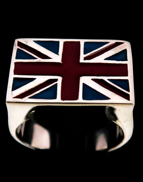 Sterling silver men's Flag ring Union Jack UK England with Red and Blue enamel 925 silver
