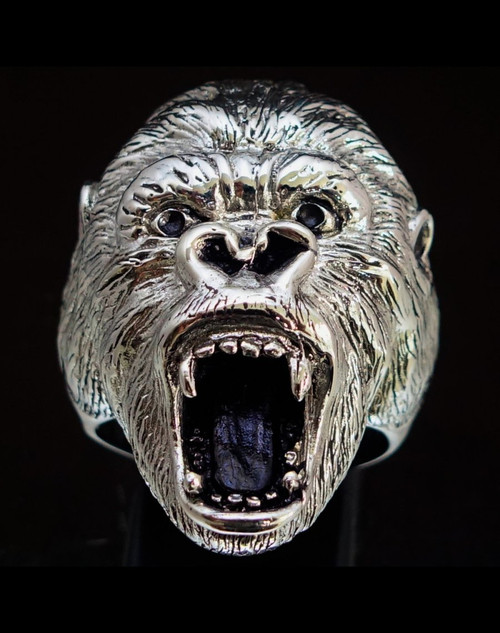 Big Sterling silver men's Animal ring Gorilla Ape high polished and antiqued 925 silver