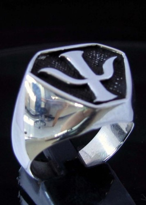 Antiqued Sterling silver ancient symbol ring Neptune's Trident Poseidon