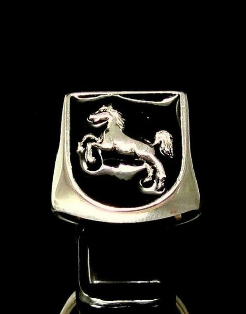 Sterling silver ring Horse on Black enamel shield  Jumping sport high polished 925 silver