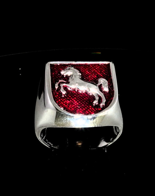 Sterling silver ring Horse Jumping Sport with Red enamel 925 silver