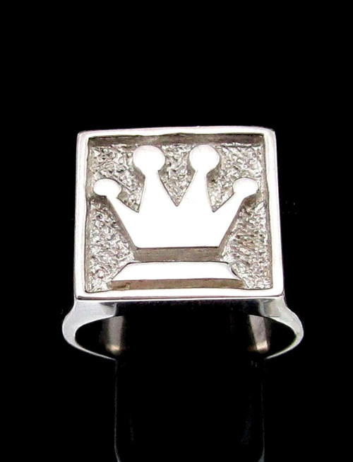 Sterling silver Chess symbol ring The Queen Medieval Crown Matte finish and high polished 925 silver