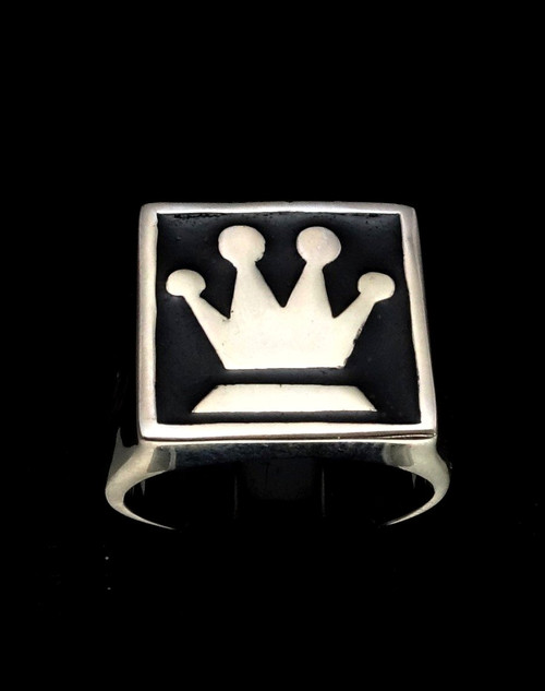Sterling silver Chess symbol ring The Queen Medieval Crown with Black enamel 925 silver