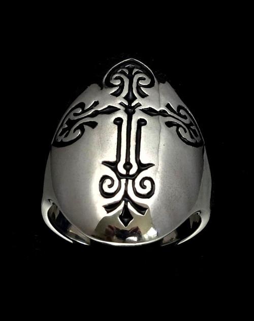 Sterling silver Coptic Cross men's ring Medieval Christian symbol Black enamel inlay high polished 925 silver