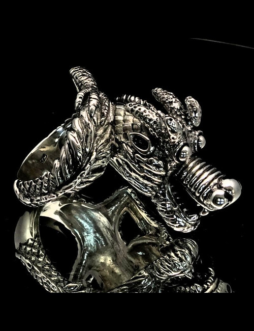 Big Sterling silver men's Biker ring Laughing Dragon high polished and antiqued 925 silver
