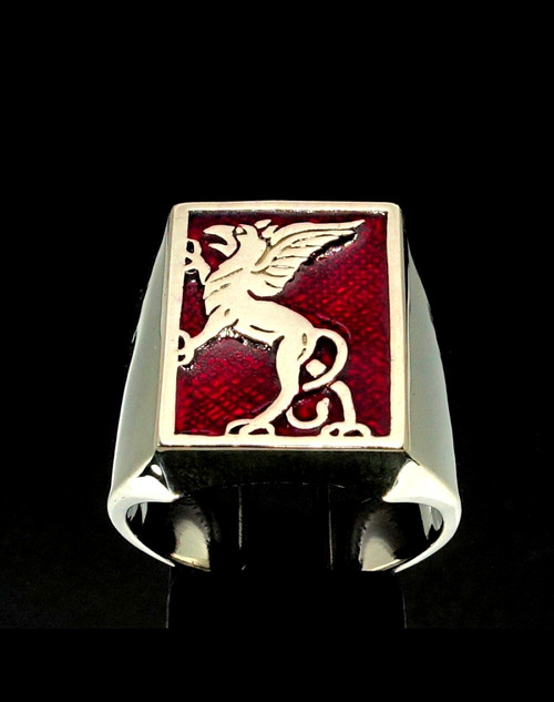 Sterling silver men's ring Griffin ancient Egypt and Iran Lion Eagle Red enamel 925 silver