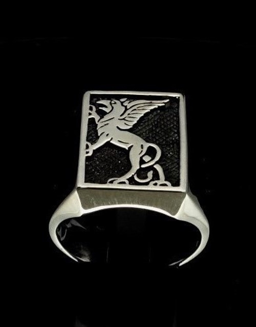 Sterling silver men's ring Griffin ancient Egypt and Iran Lion Eagle Gryphon antiqued