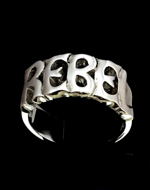 Sterling silver Letter ring Rebel one word bold letters high polished 925 silver