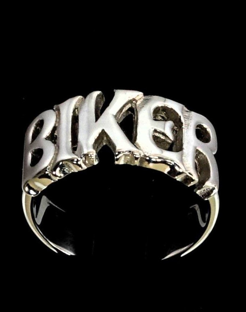Sterling silver Letter ring Biker one word bold letters high polished 925 silver