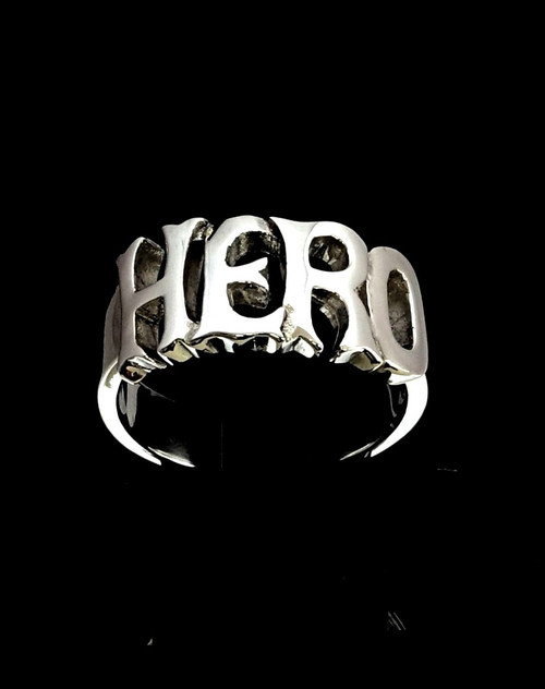 Sterling silver Letter ring Hero one word bold letters high polished 925 silver