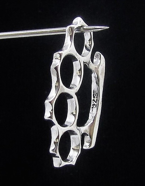 Sterling silver Pendant small Knuckle Duster street fighter high polished 925 silver