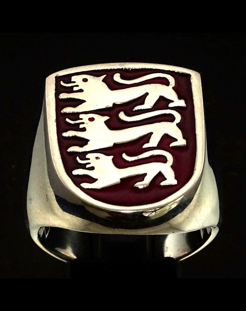 Sterling silver English Flag ring Three Lions on Shield England with Red enamel high polished 925 silver
