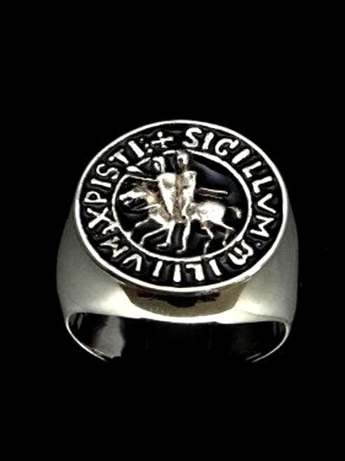 Sterling silver men's ring Knights Templar Sigillvm Crusaders coat of arms with Black enamel 925 silver
