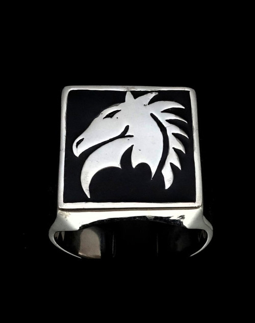 Sterling silver men's ring Chess symbol The knight Horse with Black enamel 925 silver
