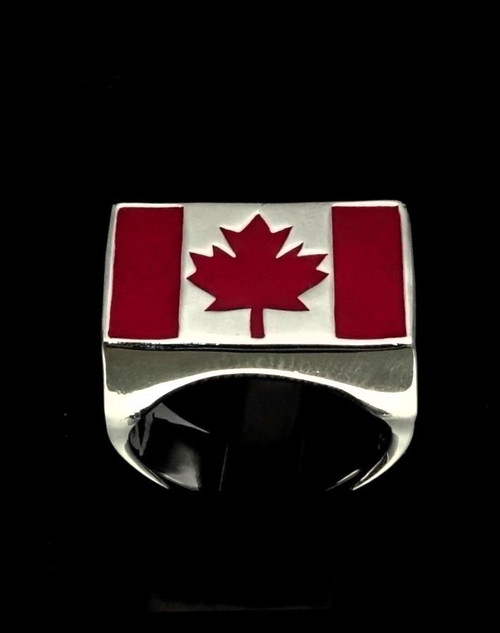 Sterling silver Canadian Flag ring Canada Maple Leaf with Red enamel 925 silver