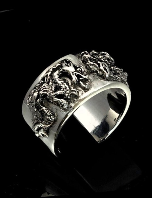 Sterling silver Band ring Two Asian Fighting Dragons high polished and antiqued 925 silver
