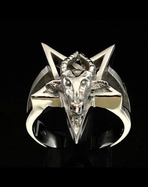 Sterling silver Occult ring Baphomet Pentagram Knights Templar deity high polished 925 silver