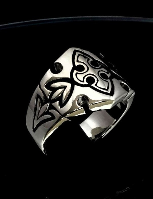 Sterling silver Medieval symbol ring Crusader Knight Cross high polished and antiqued 925 silver
