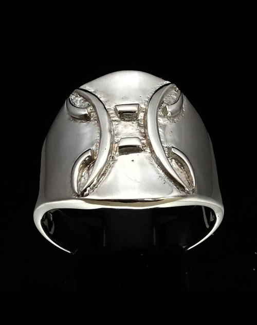 Sterling silver ring Gemini Zodiac symbol high polished 925 silver