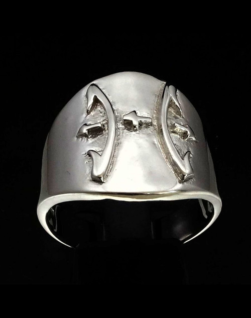 Sterling silver ring Pisces Zodiac symbol high polished 925 silver