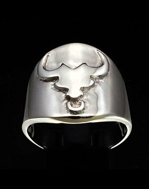 Sterling silver ring Scorpio Taurus symbol high polished 925 silver