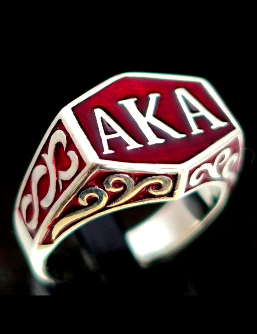 Sterling silver initial ring AKA Also Known As Pseudonym with Red enamel 925 silver