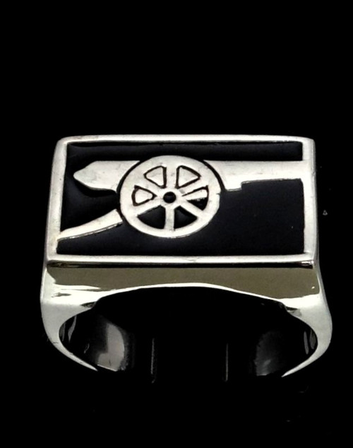 Sterling silver Army ring Cannon Medieval Artillery with Black enamel high polished 925 silver