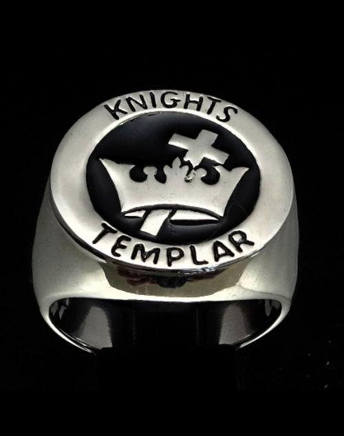 Sterling silver men's ring Knights Templar Cross & Crown Crusader with Black enamel 925 silver