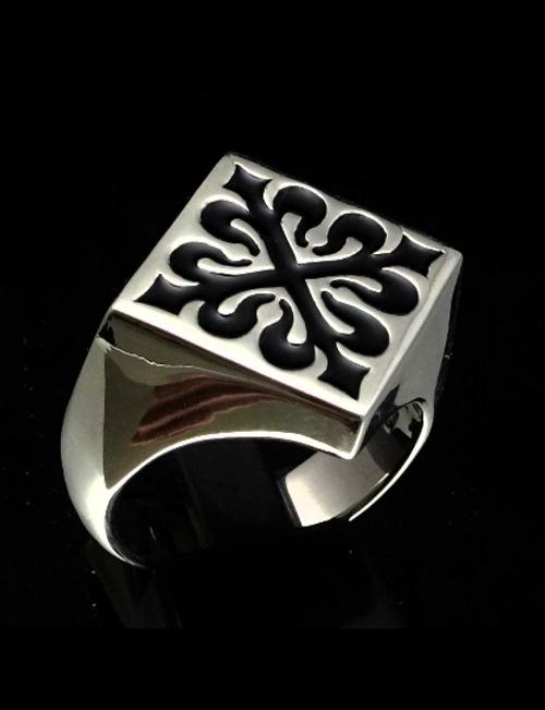 Sterling silver Medieval ring Fleur de Lis French Lily Flower symbol France black enamel 925 silver