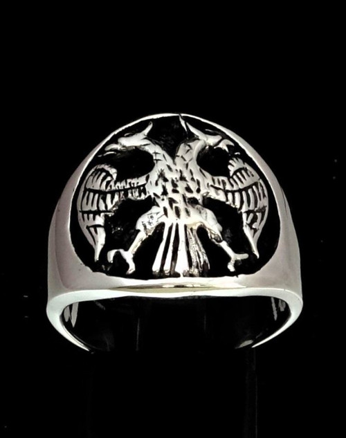 Antiqued Sterling silver ring Twin Head Eagle coat of arms Russia high polished 925 silver