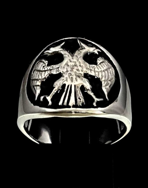 Sterling silver ring Twin Head Eagle coat of arms Russia with Black enamel 925 silver