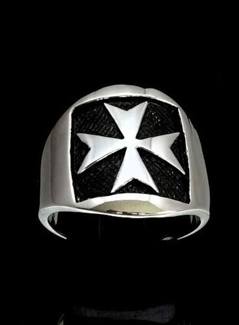 Antiqued silver Medieval symbol ring Maltese Cross Malta Crusader high polished 925 silver