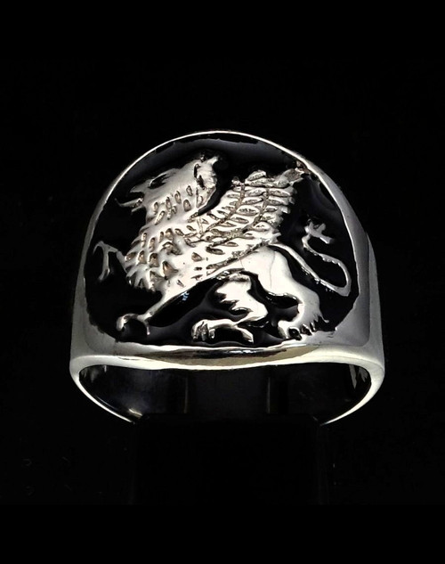 Sterling silver ring Griffin Winged Lion Eagle with Black enamel high polished 925 silver