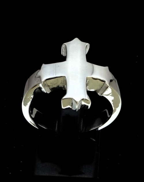 Sterling silver ring Coptic Cross Medieval Christian religion high polished 925 silver