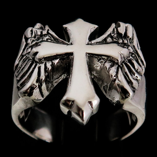 Sterling silver ring Winged Cross high polished and antiqued 925 silver