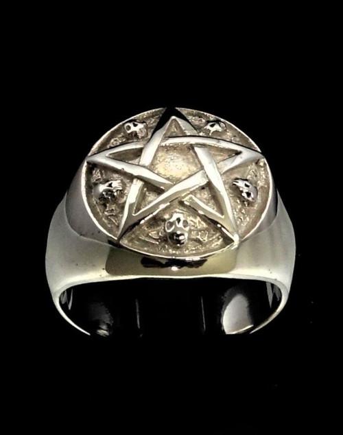 Sterling silver Occult symbol ring Pentagram and 5 Celtic Skulls high polished 925 silver