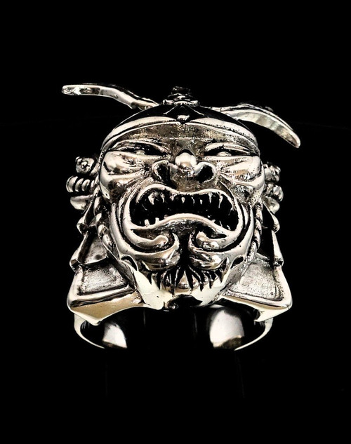 Sterling silver men's ring ancient Japanese Warrior with Kabuto armor Helmet 925 silver