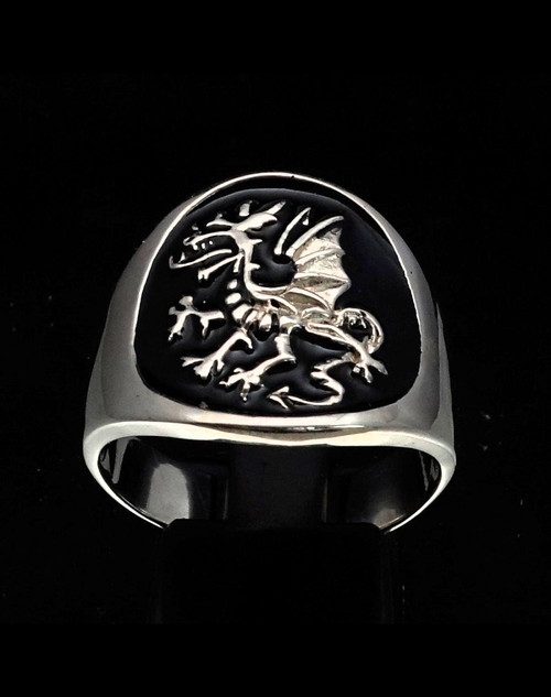 Sterling silver ring Medieval Dragon Griffin mythical animal with black enamel 925 silver