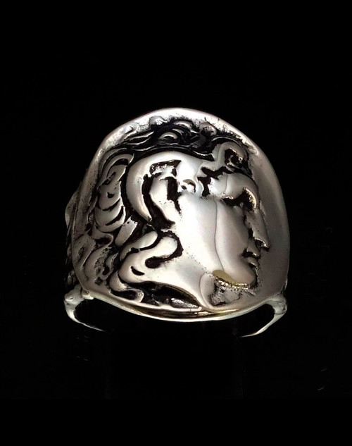 Sterling silver ring Alexander the Great Macedonia ancient Greek King  high polished and antiqued 925 silver
