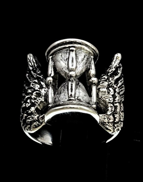 Sterling silver Art Work ring Winged Hourglass Masonic symbol Passage of Time antiqued 925 silver