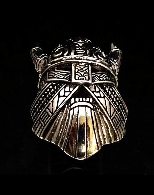 Detailed Sterling silver ring Horned Viking Helmet high polished and antiqued 925 silver