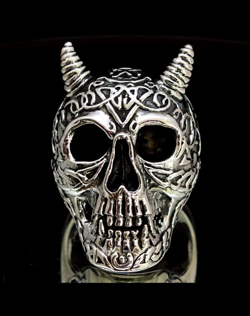 Detailed Sterling silver Skull ring Celtic Pagan Tattoo Skull high polished and antiqued 925 silver