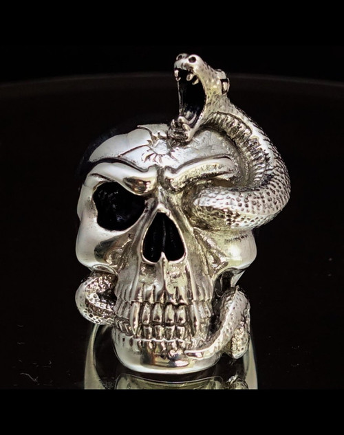 Stunning Sterling silver ring Snake through Eye Head shot Skull 925 silver men's ring