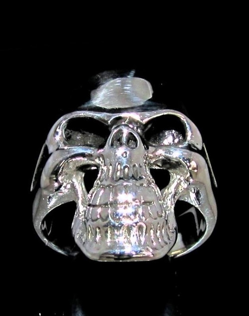 Sterling silver ring Grinning Phantom Skull high polished and antiqued 925 silver men's ring