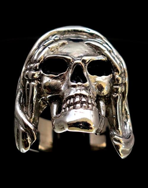 Huge Sterling silver Skull ring Hear No Evil high polished and antiqued 925 silver men's ring
