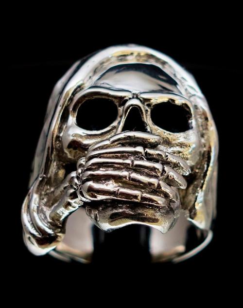 Huge Sterling silver Skull ring Speak No Evil high polished and antiqued 925 silver men's ring