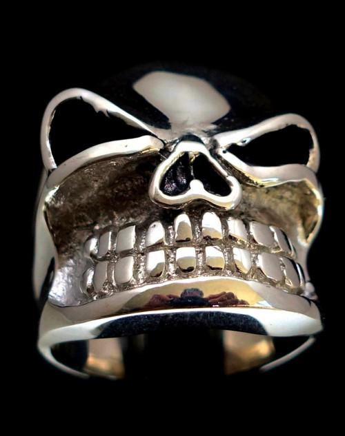 Sterling silver Biker ring Winking Skull Thug  925 silver men's ring